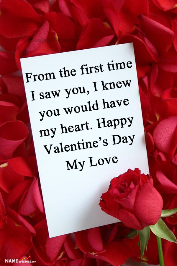 Red rose Letter Valentines Day wishes Images